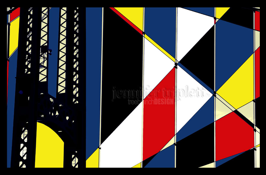 Photo further developed with a Mondrian influence