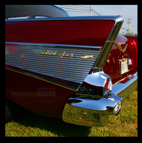 photograph of a vintage car Bel Air with gold trim